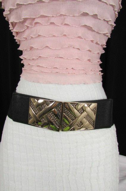 Nero,da Donna Elastico Moda Cintura Vita Metallo Oro Strisce Fibbia Quadrata S M image 4