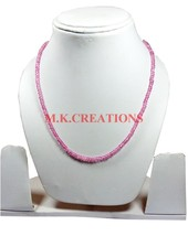 "Pink Coated Crystal 3-4mm Rondelle Faceted Beads 34"" Long Beaded Necklace - $25.70"