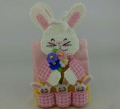 Easter Bunny Needlepoint Napkin Holder Lot of 2 Finished Handmade 3D Flo... - $11.99