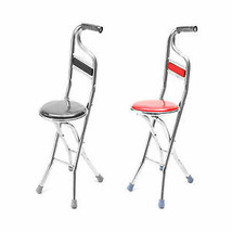 Stainless Steel Portable Folding Walking Stick Chair Seat Stool Travel Cane - $48.50