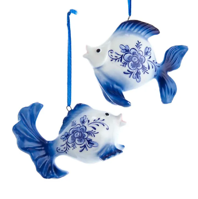 Primary image for KURT ADLER SET OF 2 HAND PAINTED PORCELAIN DELFT BLUE GOLDFISH XMAS ORNAMENTS