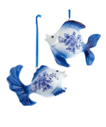 KURT ADLER SET OF 2 HAND PAINTED PORCELAIN DELFT BLUE GOLDFISH XMAS ORNA... - $14.88