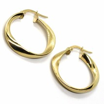18K YELLOW GOLD CIRCLE OVAL HOOPS ONDULATE EARRINGS , SATIN & SMOOTH, 27 MM image 1