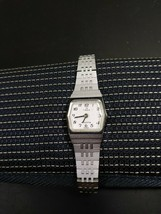 Timex K Cell Ladies Vintage Watch 1970's 80's Rare Brushed Silver White face - $14.57