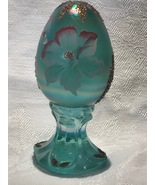 Fenton Glass Egg Hand Painted Iridized Robins Egg Blue Limited Edition - $30.00