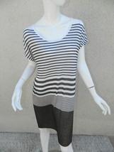 Vince Dress Knit Sweater Tunic Striped White Gray Sz M - $944,97 MXN
