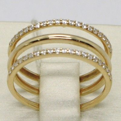 SOLID 18K YELLOW GOLD TRIPLE BAND ZIRCONIA RING, BRIGHT, LUMINOUS, MADE IN ITALY