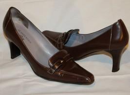 ANNE KLEIN Iflex Maoxon Dark Brown Buckle Tops Leather Oxford Loafer Heels 6M - $34.99