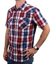 NEW LEVI'S MEN'S CLASSIC COTTON CASUAL BUTTON UP PLAID RED & NAVY 3LYSW0752 image 2