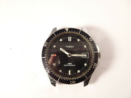 Vintage Timex 1979 Sport Diver Red Tip Date Black Dial Men's Windup Watch Runs - $195.00