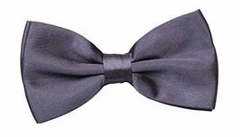 Men's Bow Tie Adjustable Neck Band Necktie Bowties Weeding Patry Dark Grey image 3