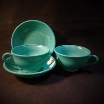 Hazel Atlas OVIDE Teal Cup and Low Bowl 4 Pcs 1950's Discontinued VFC - $14.95