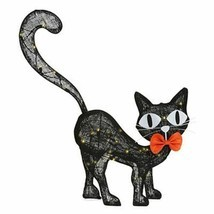 Halloween LED Haunted House Spirit Decor Burlap Black Cat - 29.5 Inch Ta... - $53.45