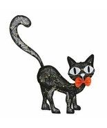Halloween LED Haunted House Spirit Decor Burlap Black Cat - 29.5 Inch Tall NEW - $53.45