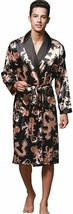 ZUEVI Men's Long Sleeve Satin Kimono Robe Dragon Lightweight Bathrobe Pa... - $51.68+