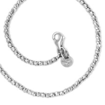 """18K WHITE GOLD CHAIN FINELY WORKED SPHERES 2 MM DIAMOND CUT BALLS, 20"""", 50 CM image 1"""