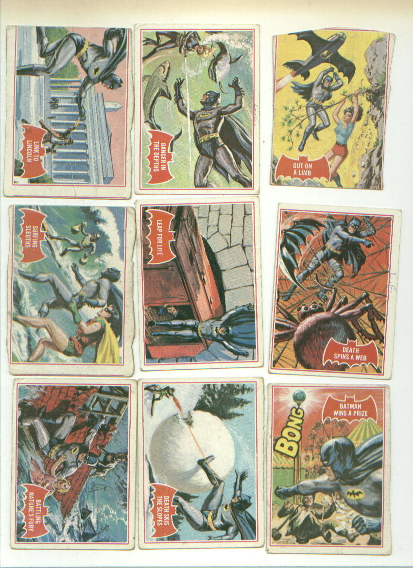 38 vintage TOPPS BATMAN gum cards RED BAT 1966