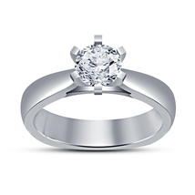 14k White Gold Plated 925 Sterling Silver Round Cut CZ Solitaire Engagement Ring - $54.33