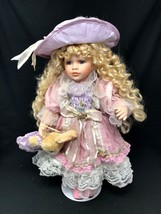 """Adorable Vintage Victorian Porcelain Doll & Bunny 17"""" Poseable w Stand - $79.99"""