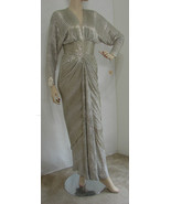 BARBARA MANDRELL Stage Worn Gown Vintage Heavy Bead Silver V-Cut Dolman ... - $1,169.99