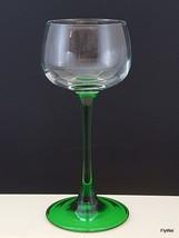 "Cristal D'Arques Emerald Rhine Wine Glass Clear and Green 4 oz Hock 6.5"" - $7.62"