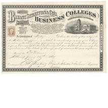 1867 R6c on Bryant, Stratton & Co. Business College Certificate Albany, ... - $129.00