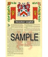 Thrasher Coat of Arms (Armorial Name History) Family Crest 11x17 Print S... - $18.99