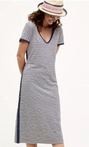 Anthropologie Maeve Blue Ivory Stripe T Shirt Dress Sz MP Button Side Midi Maxi - $49.49