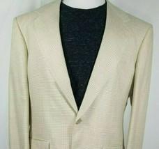 Bill Blass Mens Silk Sport Coat Size 40 Regular Select Beige Tan Houndst... - $44.50