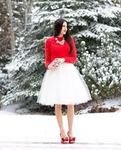 New luxurious 6 layers white tulle women skirt tutu midi knee length ful... - $48.00