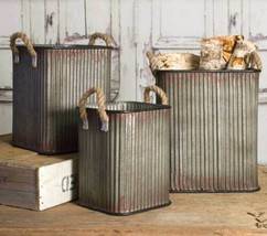 Country SET OF THREE CORRUGATED STORAGE BINS Primitive Farmhouse Rustic ... - £87.14 GBP