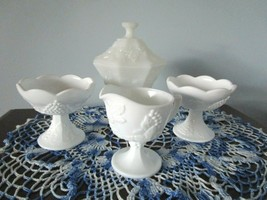 Vintage Indiana Grape Pattern Candy Dish, 2 Candle Sticks & Cream Pitcher - $24.74