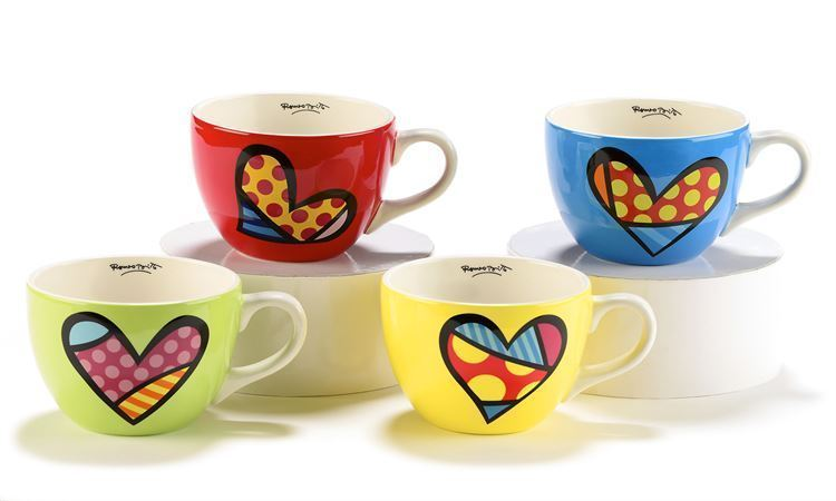 Romero Britto Cappuccino Mugs - Set of  4 - 16 oz Ceramic Red,Yellow,Blue,Green
