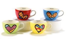 Romero Britto Cappuccino Mugs - Set of  4 - 16 oz Ceramic Red,Yellow,Blue,Green