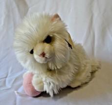 Aurora Miyoni Tots White Angora Kitten Stuffed Plush with Yarn Ball Cat NWT - $11.04