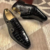 Handmade Men's Black Leather Crocodile Texture Double Monk Strap Dress Shoes image 6