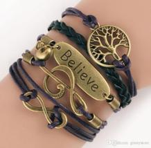 DIY Infinity Charm Antique Cross fashion Leather Bracelets Multilayer Heart Tree image 2
