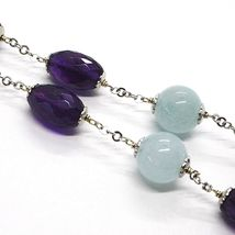 925 Silver Necklace, Oval Amethyst, Aquamarine Disk and spheres, Choker image 4