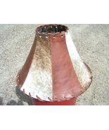 Cowhide Leather Lamp Shade Rustic Southwest 1344 discounted bz - $159.98