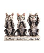Cat Grey Kitties See Hear Speak No Evil Salt Pepper Shaker Toothpick Set... - $46.17