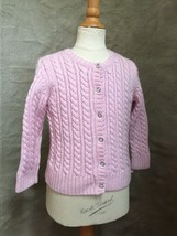Lands End PINK WOOL CABLEKNIT CARDIGAN Sweater Girls 4 RHINESTONES Butto... - $33.74