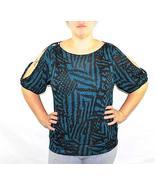 Plus size cut out shoulder printed blouse - $9.99