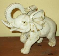 "Vtg Lg Crackle Glazed Ceramic Elephant Figure Vintage 10x12"" Tan Trunk U... - $65.10"