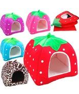 Dog House Pet Cat Kennel Warm Cushion Foldable Strawberry Shape Nest  - $14.24+
