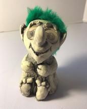 Hobbit Troll Doll Sculpture 1973 USA Lenticular Moving Eyes Green Hair - $48.37