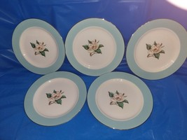 5 Vintage Homer Laughlin Turquoise Bread And Butter Plates. - $21.78