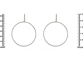 Trendy Pave Clear 5A CZ Rhodium Plated Huge Circle Hoop Earrings 60mm - $49.49