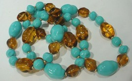 Joan Rivers  Blue & Brown Glass Beaded Necklace - $19.79