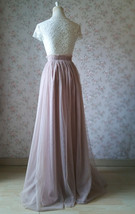 2020 Wedding Tulle Skirt High Waisted Bridesmaid Long Tulle Skirt, Light Taupe   image 5