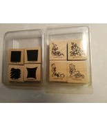 STAMPIN UP TWO SETS OF 4 WOOD RUBBER STAMPS NEW &  RETIRED 8 STAMPS - $7.91